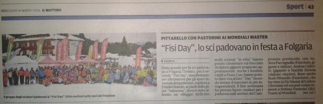 Fisi Day sul Mattino di Padova sci